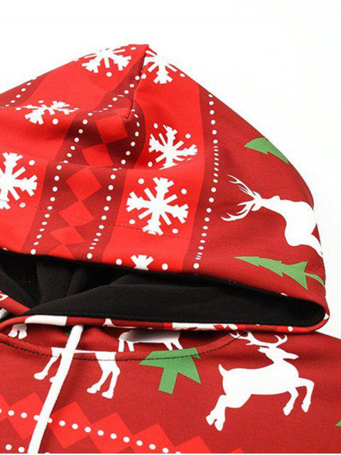 outfits Hooded Christmas Elk Snowflake Geometric Print Hoodie - COLORMIX M Mobile