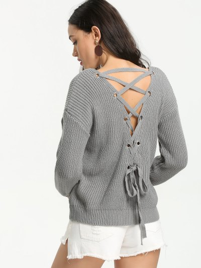 Back Lace Up V Neck Pullover Sweater - Gray