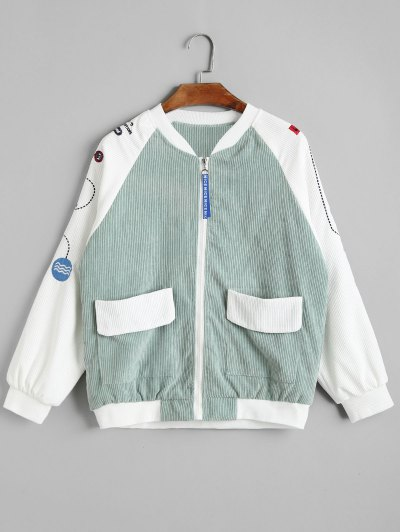 Color Block Embroidered Corduroy Jacket - Light Green