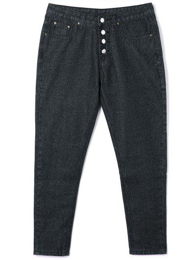 Button Closure Tube Jeans - Black M