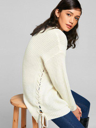 Lace-up Chunky Tunic Sweater - Off-white