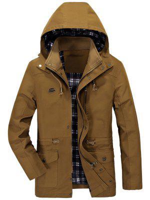 Waist Drawstring Hooded Coat - Earthy L