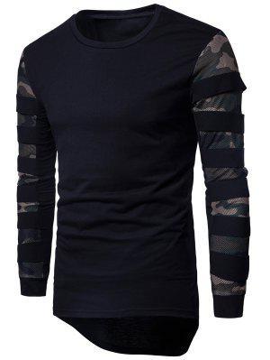 Camiseta Asimétrica de Camuflaje de Cuello Redondo Panel de Malla