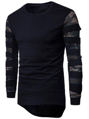 Crew Neck Mesh Panel Camouflage Asymmetric T-shirt