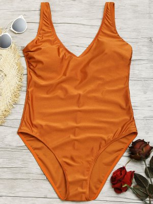 Shiny One Piece Swimsuit - Brown L