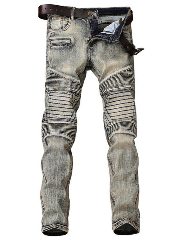 Zipper Fly Accordion Pleat Bleach Wash Jeans 232591403