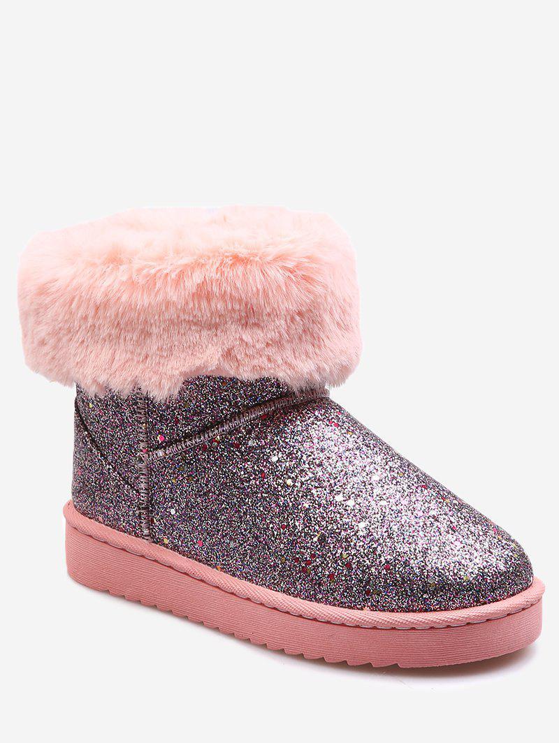 Faux Fur Trim Sequined Snow Ankle Boots 232619012