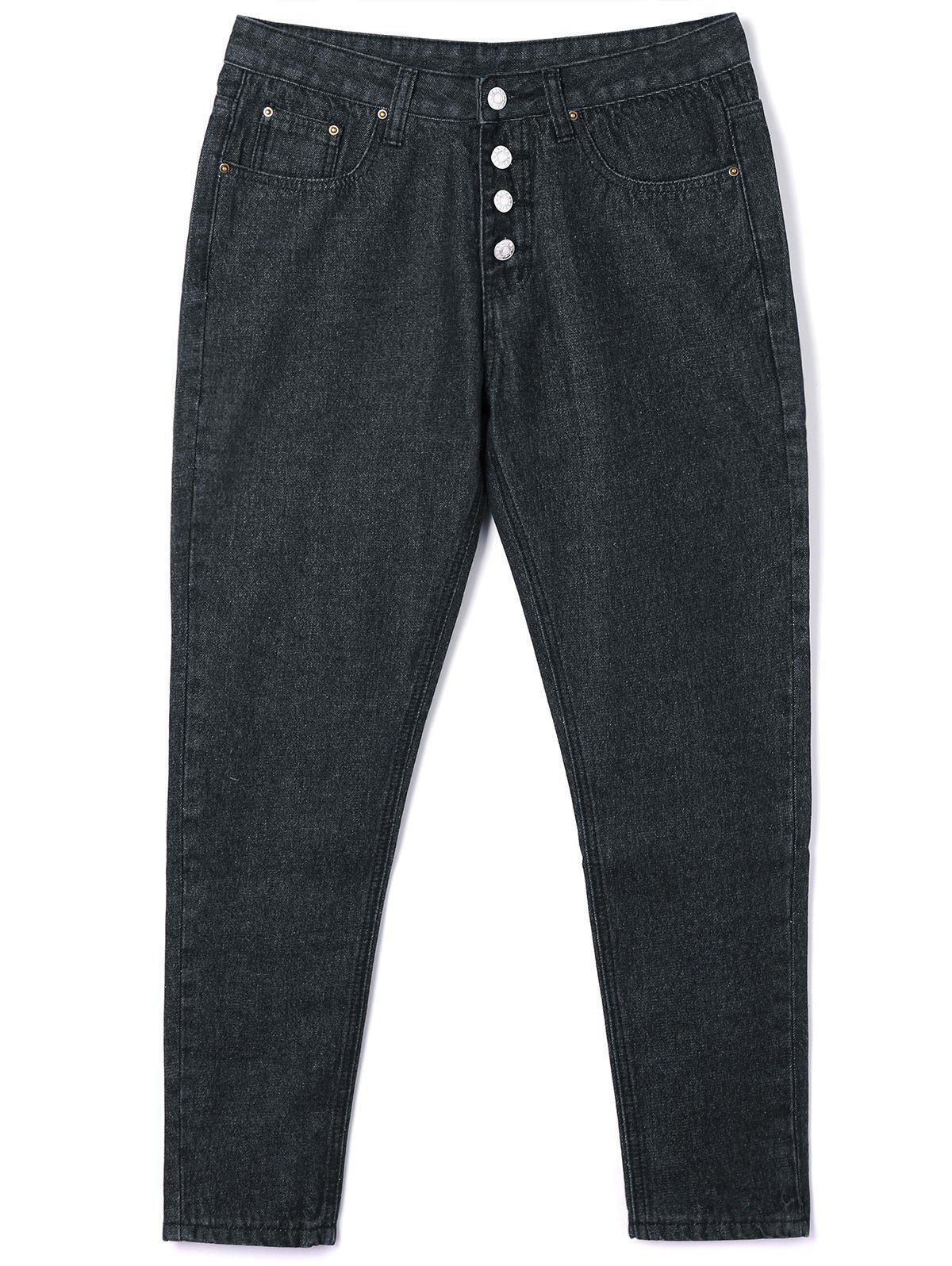 Button Closure Tube Jeans