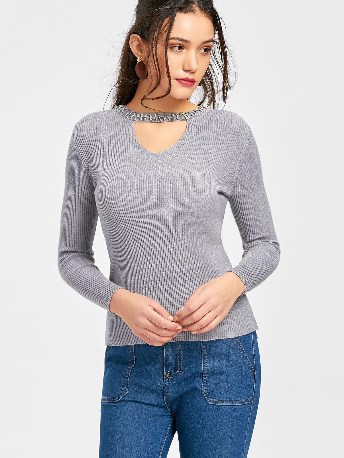 Ribbed Beaded Choker Sweater 232960501