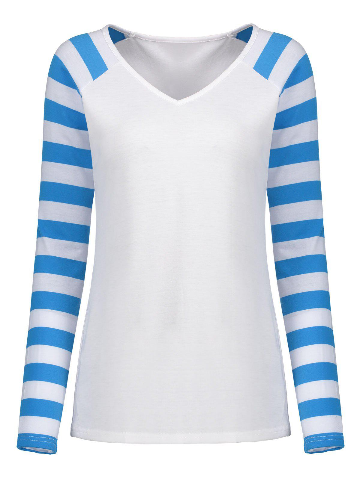 Striped Raglan Sleeve V Neck Top 232092809