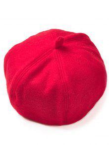 لينة الصوف الاصطناعي قبعة قبعة قبعة بيريه - أحمر