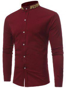 مصنع المطرزة اليوسفي طوق قميص - نبيذ أحمر L