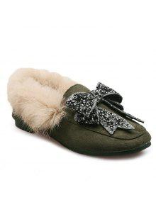 حجر الراين بونوت فو الفراء الانزلاق على الأحذية - أخضر 38