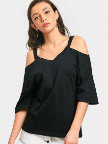 Camiseta Sin Mangas Con Hombros Descubiertos De Cuello En V - Negro L