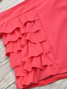 528a3bcf14d50 27% OFF  2019 Ruffle High Waisted Bikini Set In WATERMELON RED S