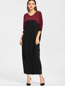 Vestido Largo Con Dos Tonos Batwing - Negro&rojo Xl