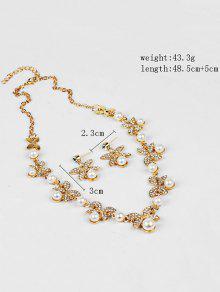 Rhinestone Faux Pearl Butterfly Wedding Jewelry Set GOLDEN