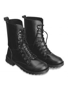 الدانتيل يصل بو الجلود منتصف العجل الأحذية - أسود 39