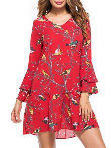 Vestido Estampado Con Estampado De Pájaros - Rojo M