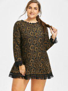 2018 Plus Size Floral Lace Fringed Dress In GINGER 4XL | ZAFUL
