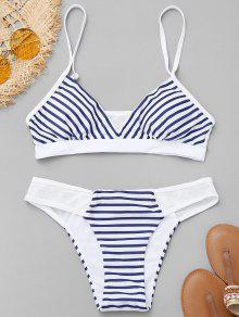Conjunto De Bikini A Rayas Con Panel De Malla - Azul Y Blanco S