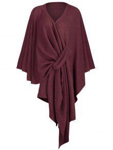 زائد الحجم غير المتماثلة التفاف المعطف معطف - نبيذ أحمر