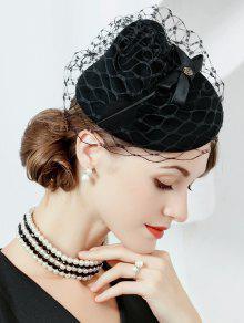 Sombrero De Pastillero De Fieltro Embellecido De Fieltro De Velo De Flor - Negro