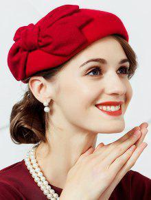 Bowknot Adornado Sombrero De Pastillas De Lana Artificial Fedora - Rojo