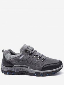 الدانتيل يصل حذاء كتلة اللون - رمادي 44