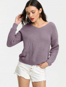 Back Lace Up V Neck Pullover Sweater SMASHING: Sweaters ONE SIZE ...