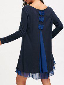 الشيفون إدراج فستان طويل الأكمام سوينغ - الأرجواني الأزرق S