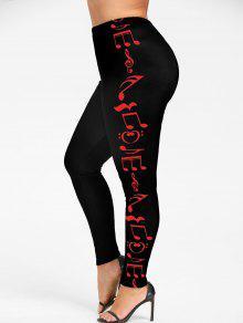 ليجينز الحجم الكبير طباعة - الأحمر مع الأسود Xl