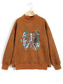 Sweat-shirt à Motif Squelette Et Rose En Suède - Brun M