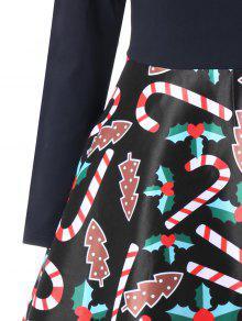 Estampado Cruzado Cruzado M De Negro Navidad Vestido x50qBWfcwq