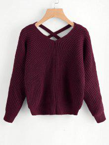V Neck Criss Cross Pullover Sweater