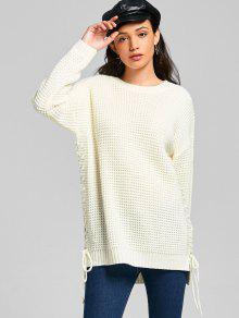 Lace-up Chunky Tunic Sweater OFF-WHITE: Sweaters ONE SIZE | ZAFUL