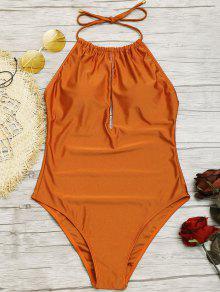 انقطاع لامعة عالية الرقبة ملابس السباحة - M