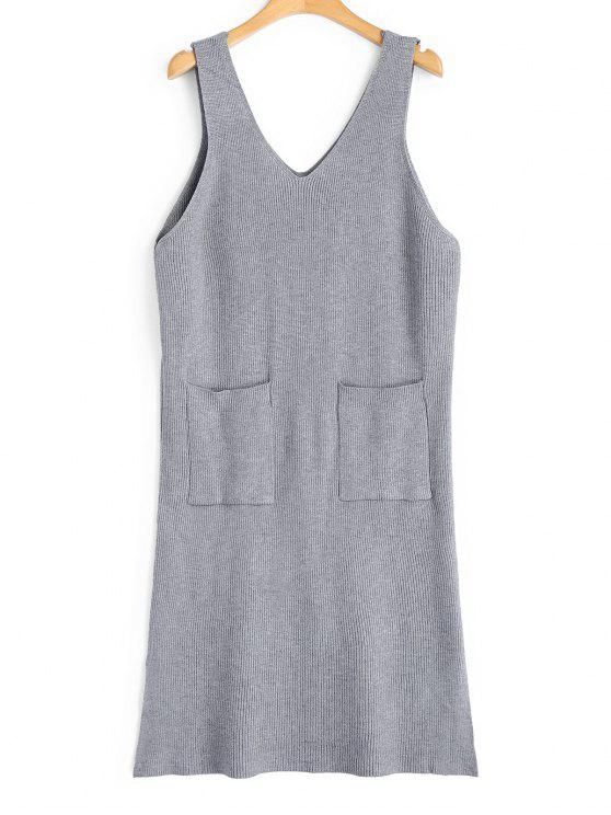 latest Longline Side Slit Vest V Neck Sweater - GRAY ONE SIZE