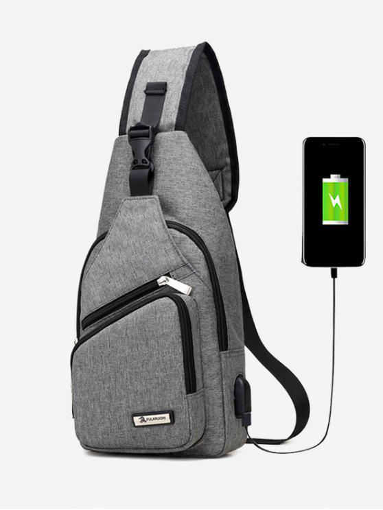 womens Buckle Strap USB Charging Port Chest Bag - GRAY