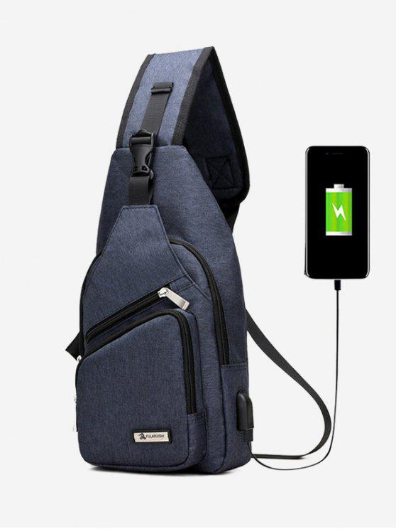 women's Buckle Strap USB Charging Port Chest Bag - BLUE