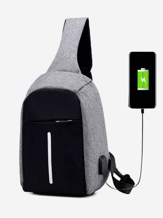 best Color Block Earphone USB Charging Port Chest Bag - GRAY