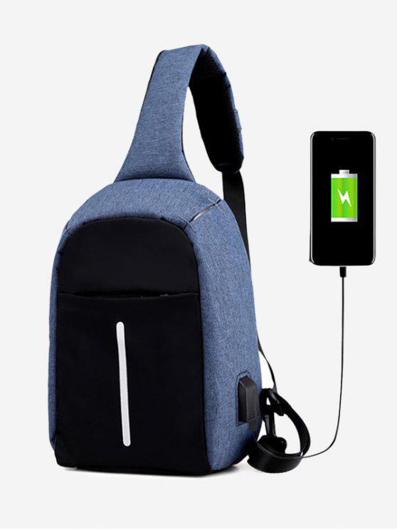 online Color Block Earphone USB Charging Port Chest Bag - BLUE