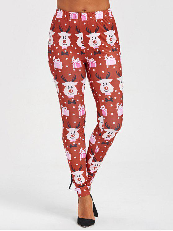 affordable Christmas Cartoon Print Leggings - COLORMIX XL