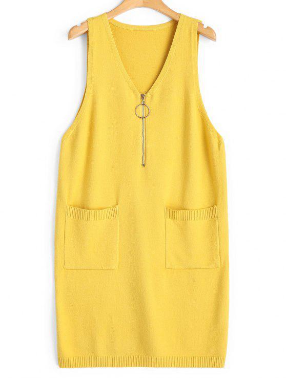 shop Longline Half Zip Vest V Neck Sweater - YELLOW ONE SIZE