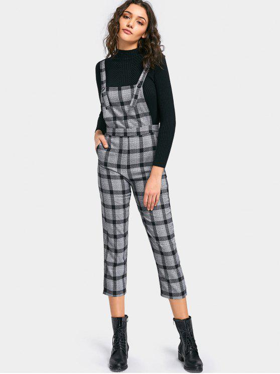 buy Plaid Capri Overalls with Pocket - GRAY M