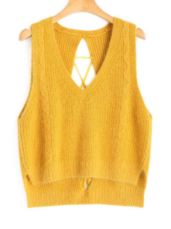 High Low Lace Up Vest Sweater MUSTARD: Sweaters ONE SIZE | ZAFUL