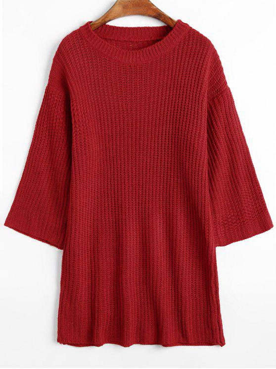 Longline Ribbed Chunky Sweater RED: Sweaters ONE SIZE | ZAFUL