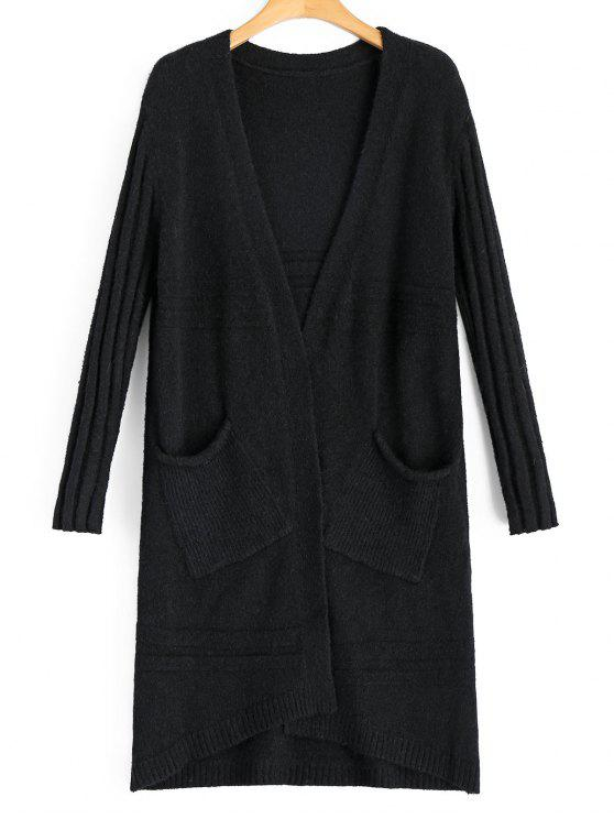 Long Open Front Cardigan With Pockets BLACK: Sweaters ONE SIZE | ZAFUL