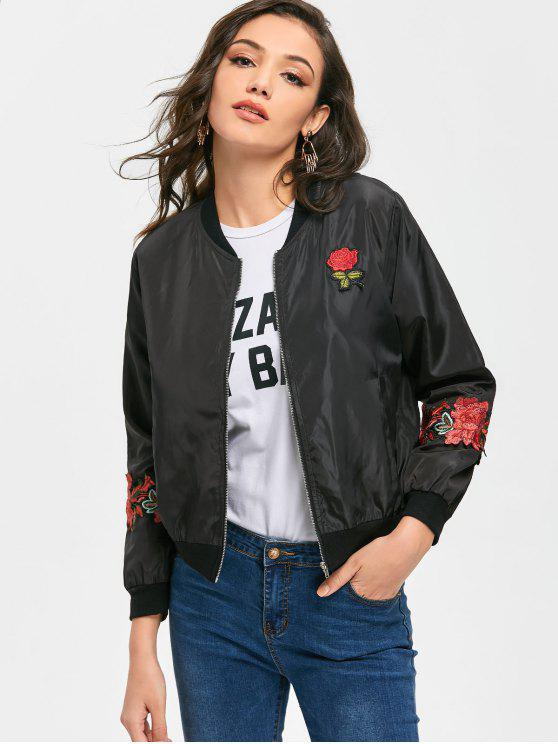 a5b0966ceeb3 25% OFF  2019 Flower Appliques Zip Up Bomber Jacket In BLACK