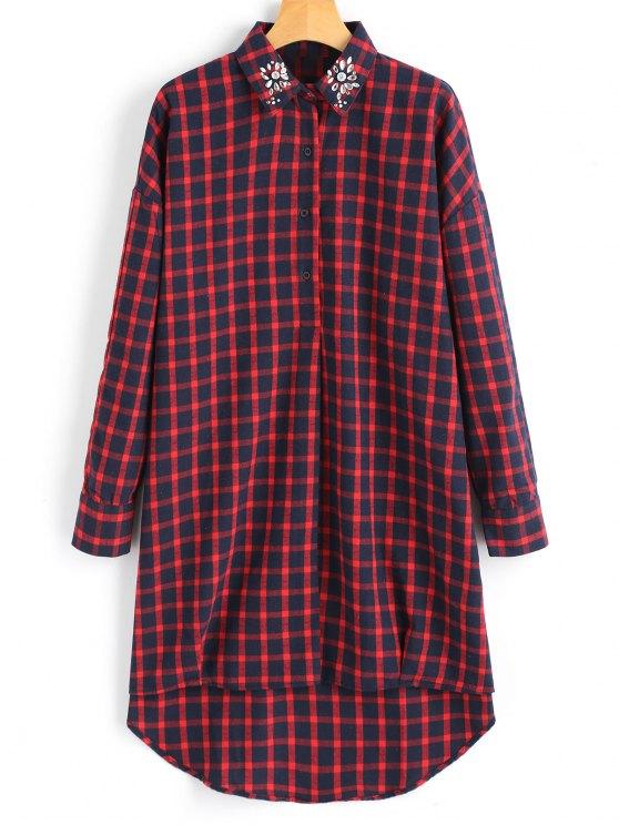 ladies Checked Rhinestoned High Low Shirt - CHECKED S